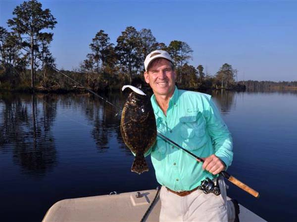 Mike Marsh with a flounder caught during the Neuse River Backwater Open.