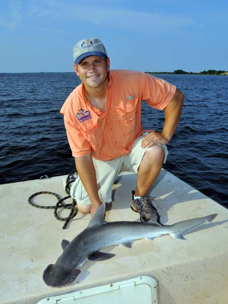 Justin Marsh with a 4-foot Bonnethead Shark