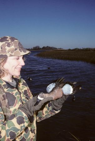 Blue-winged teal lady hunter